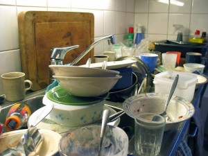 dirty dishes sinkful lots filthy