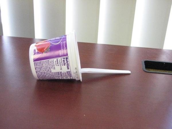 Yogurt spoon fell over!